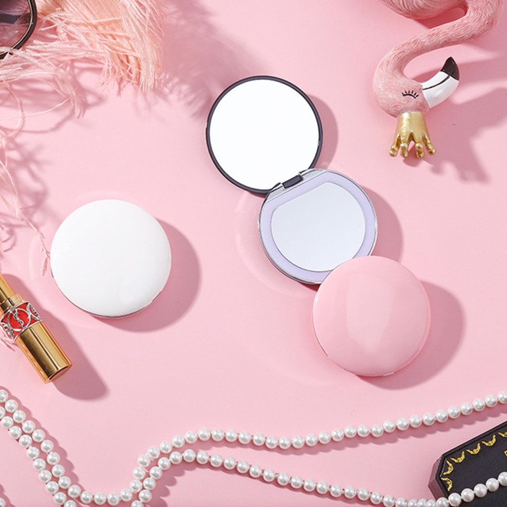 Magnifying Lighted Makeup Mirror Light Mini Round Portable Led Make Up Mirror Sensing Usb Chargeable Makeup Mirror