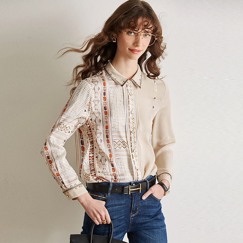 100% Silk Blouse Women Shirt Casual Style Printed Long Sleeves Elegant Style Simple Design Office Top New Fashion