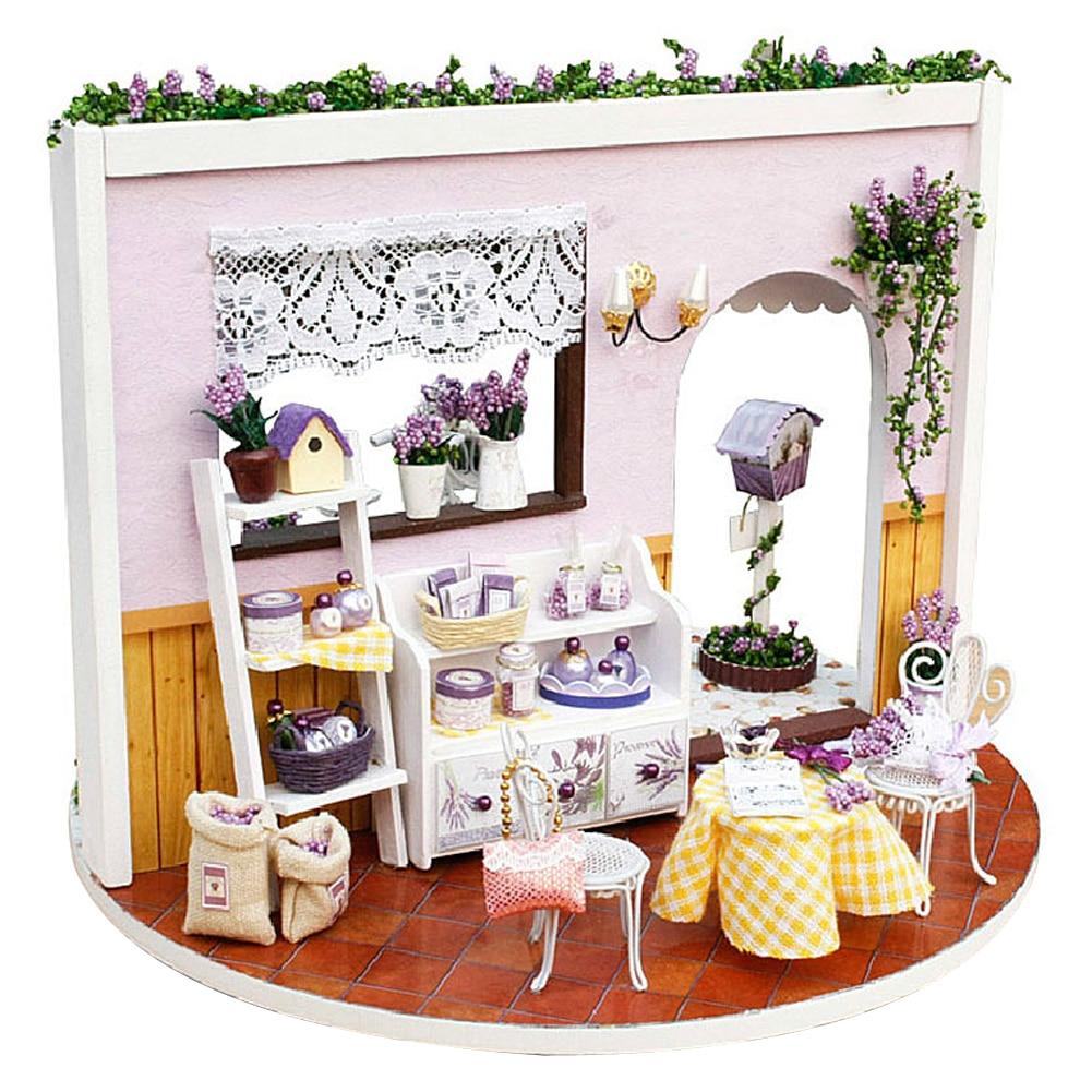 DIY de Historia de casa de muñecas de madera montado de casa de muñecas en miniatura w/música