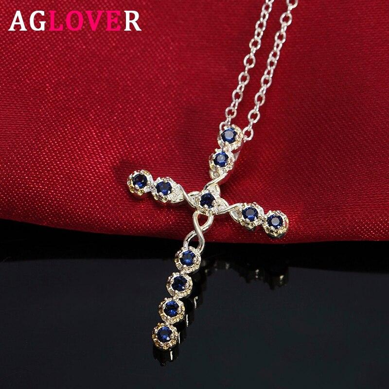 AGLOVER 925 plata esterlina AAA circón 18 pulgadas Cruz Azul colgante collar para mujer hombre moda boda joyería regalo