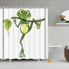 Dafield rideau de douche grenouille   Rideau de douche cachant un mignon sourire amusant, décor danimal drôle, rideau de douche en tissu de salle de bains imperméable