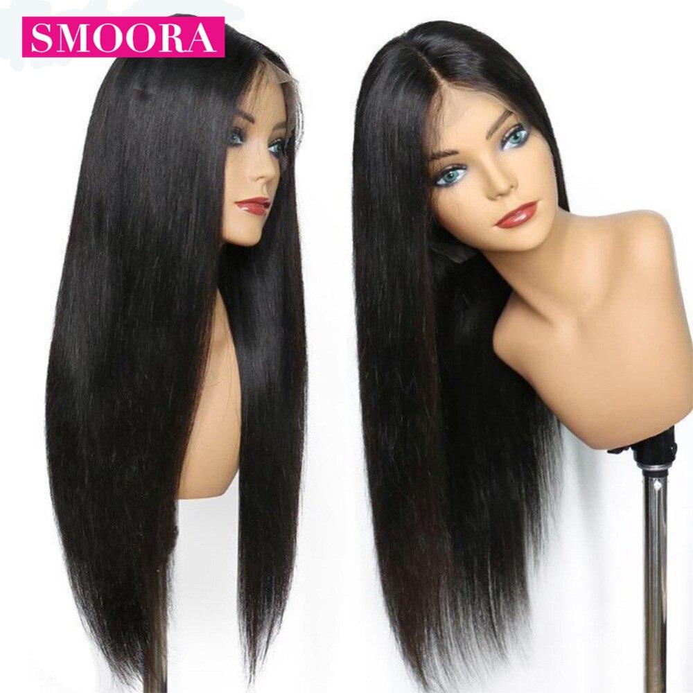 13x4 parrucche frontali per capelli umani in pizzo per donne nere 150% peruviane Remy capelli lisci parrucche frontali in pizzo Pre pizzicato con capelli per bambini