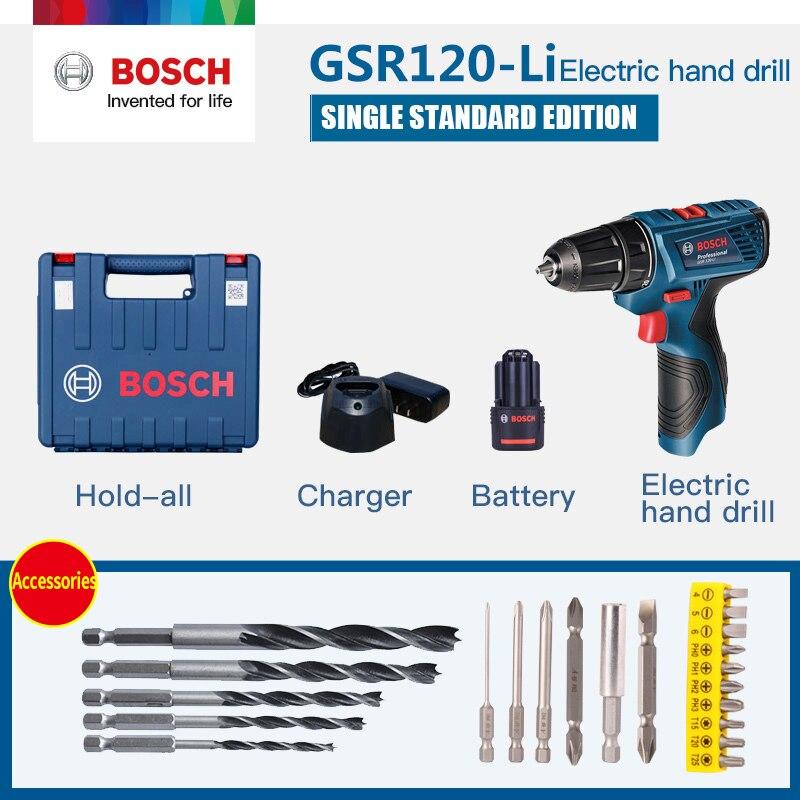 Taladro manual Bosch GSR 120-Li (una batería) 12 V, taladro de litio, herramienta eléctrica doméstica, destornillador