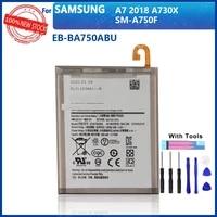 100 original eb ba750abu battery for samsung galaxy a7 2018 version sm a730x a730x sm a750f a10 3300mah batteries with tools