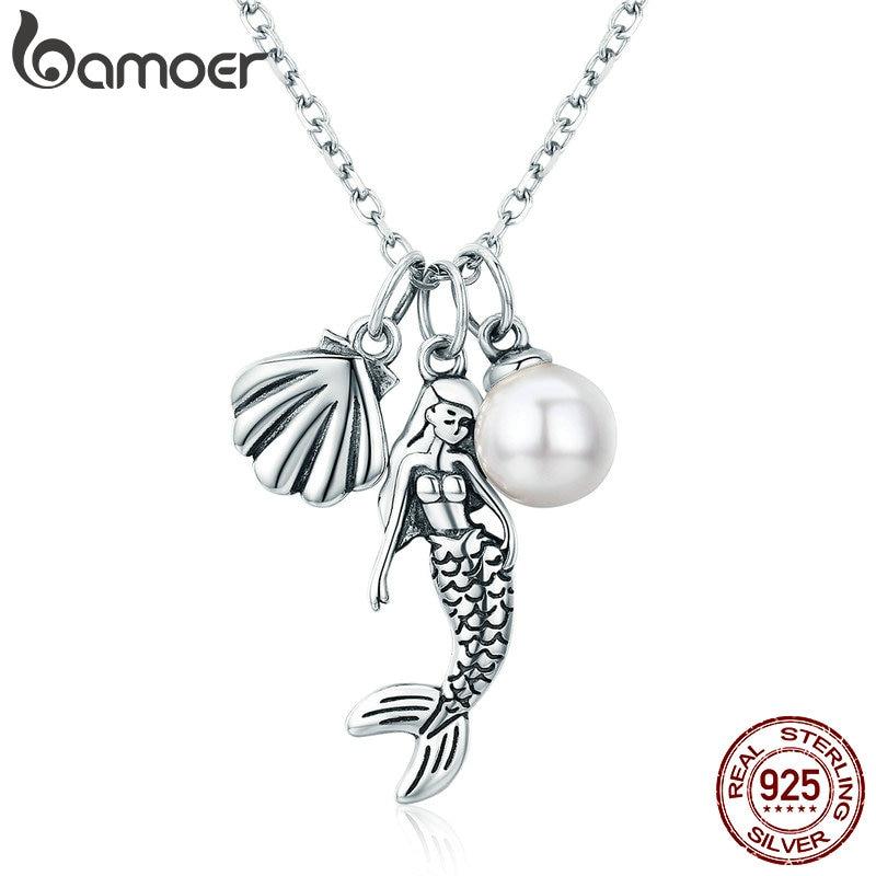 Collares con colgante de concha de sirena romántica BAMOER 100% Plata de Ley 925 para mujer, joyería de plata de ley, regalo SCN237