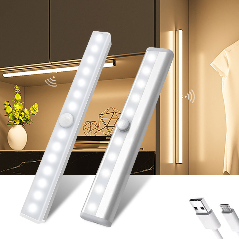 6/10/30/60 LED PIR Motion Sensor Night Light Dimmable Closet Lights LED Under Cabinet Light for Cupboard Wardrobe Stairs Kitchen