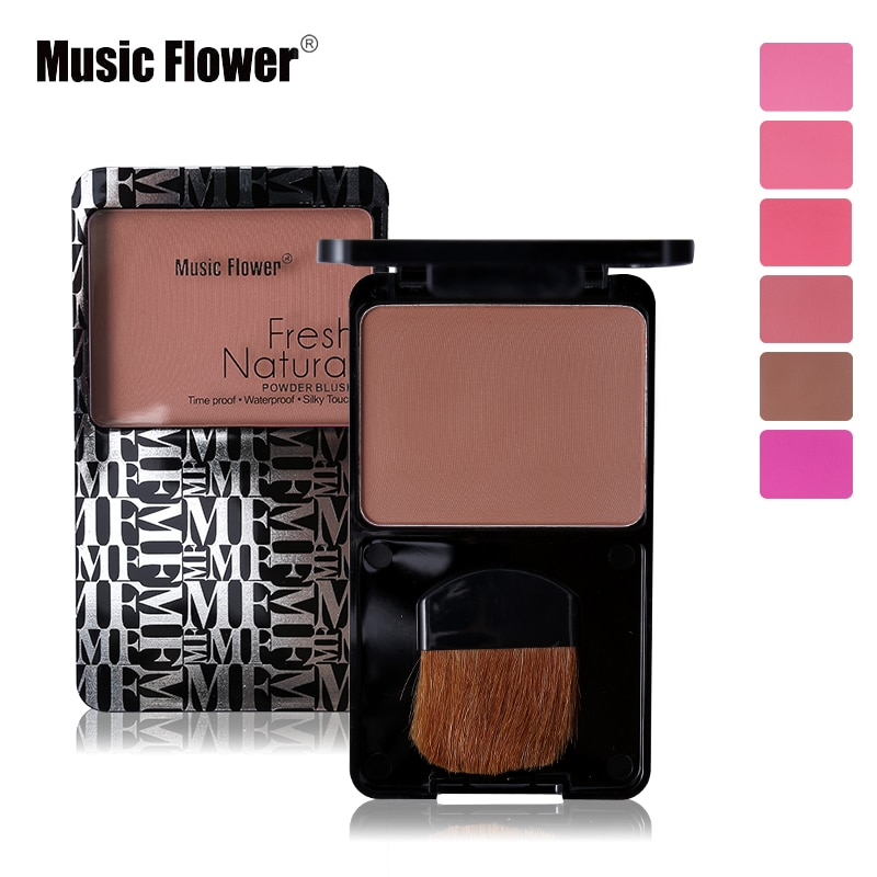 Music Flower Face Makeup Sleek Cheeks peach Powder Blush Palette Make Up Facial Bronzer Matte Blusher With Brush waterproof