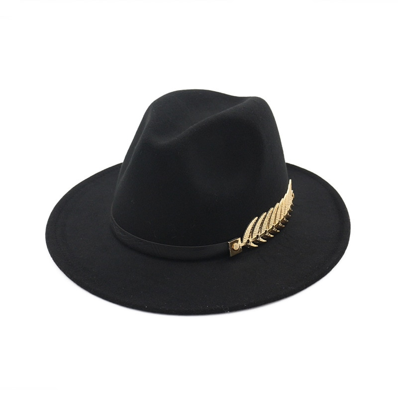 Sombrero de fieltro Jazz de invierno mujer hombre sombrero Fedora de lana de imitación 60cm chapado hoja PU cuero Banda Clásica ala plana Cloche Cap