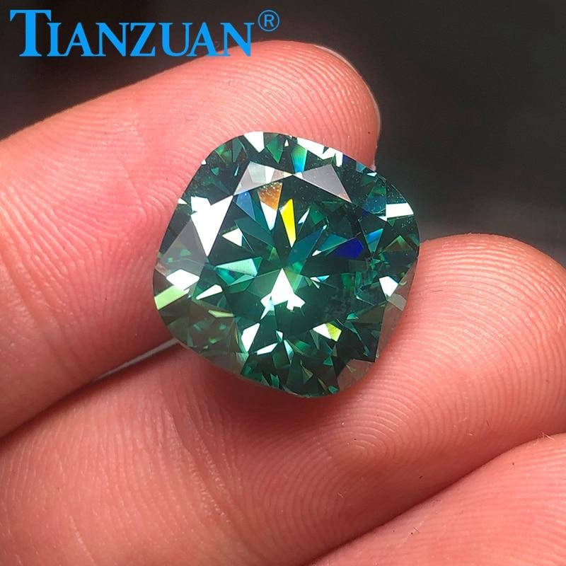 14mm-15mm cor verde almofada forma diâmetro mond corte sic material moissanites solta pedra da jóia