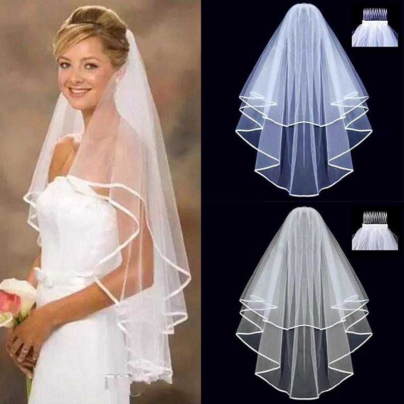 Rövid tüll esküvői fátyol kétrétegű 75 cm-es fésűs fehér és elefántcsont menyasszonyi fátyol a menyasszony számára a házasság esküvői kiegészítőihez