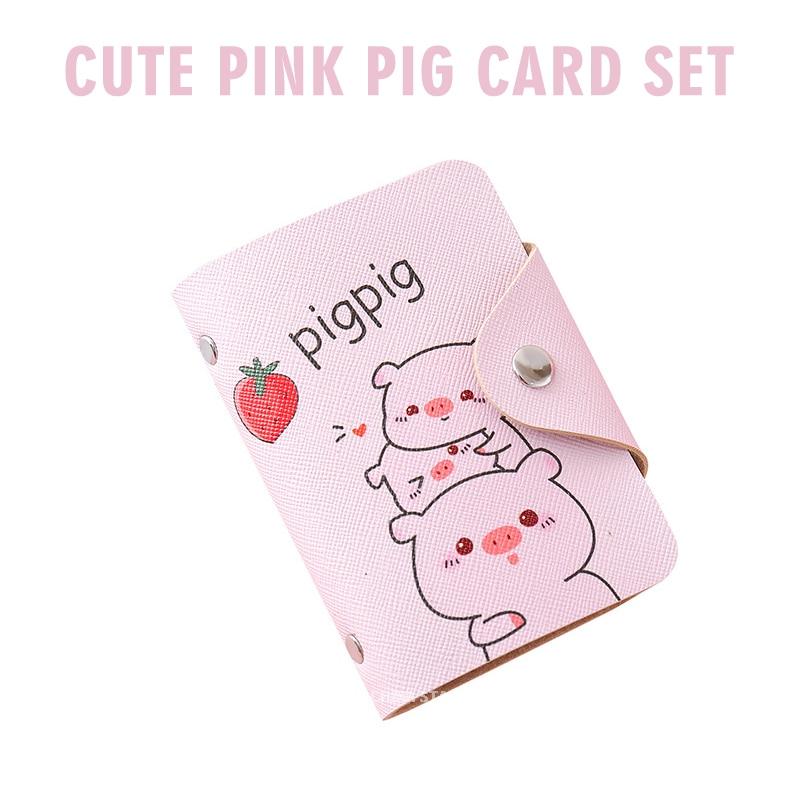 Симпатичная розовая сумка для карт в форме свиньи с несколькими картами, вместительная Студенческая карта для еды, карта с защитой от разма...