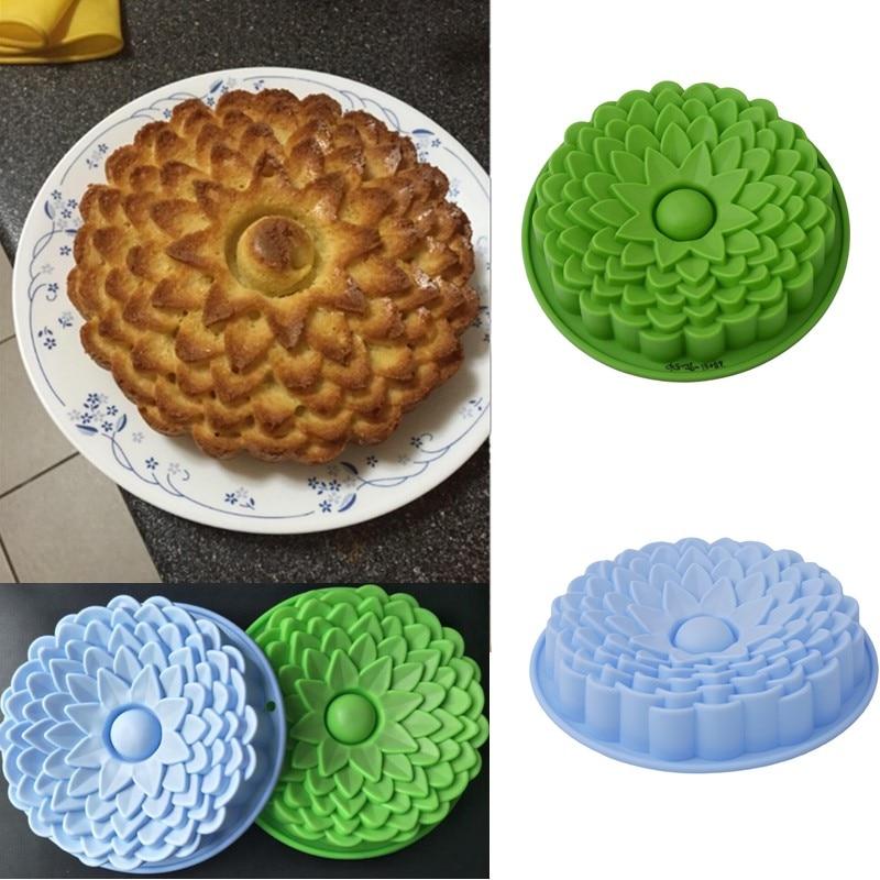 Moldes grandes de silicona para pasteles, herramientas para hornear, moldes para pasteles con forma de flor, molde 3D para Pan, pastelería, Pizza, Pan DIY para cumpleaños, fiesta de bodas