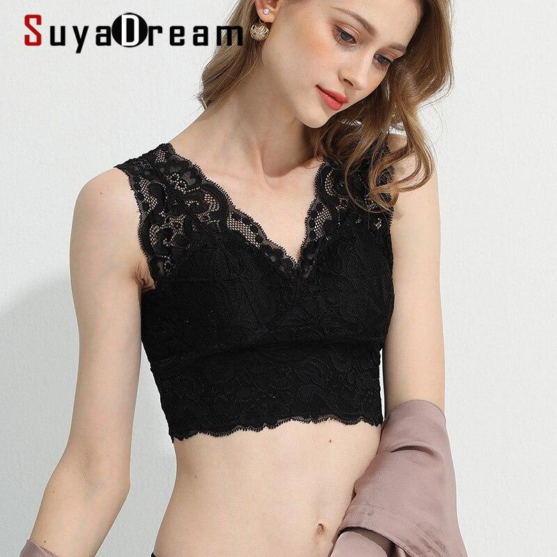 SuyaDream-حمالة صدر نسائية من الحرير الطبيعي ، ملابس داخلية للنبيذ ، دانتيل ، كوب كامل ، مبطن ، أسود ، 100%