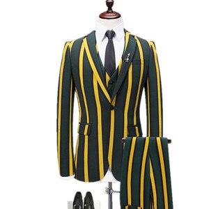 Мужские вертикальные полосы Тонкий комплект из 3 предметов, куртка, штаны, костюмы с жилетом/мужской модный Британский Стиль Пиджаки или кур...