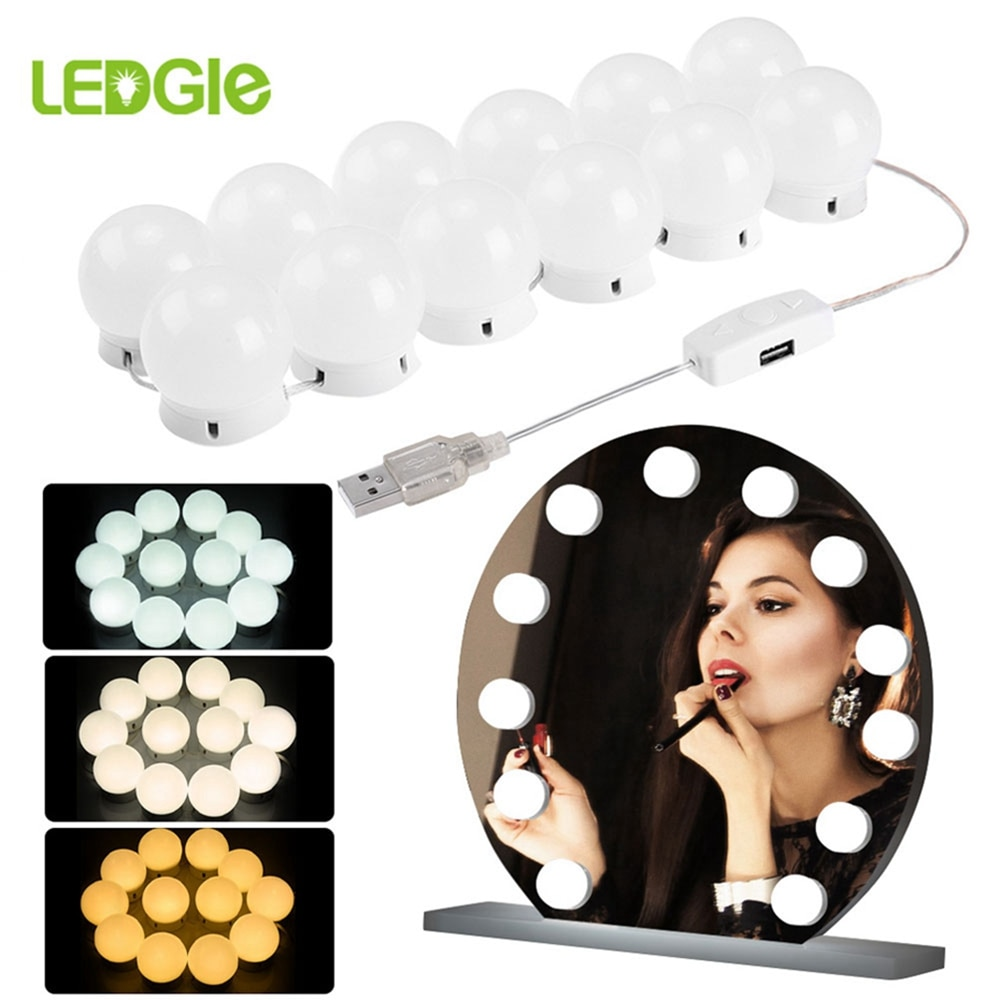 Ledgle led espelho luz maquiagem lâmpada hollywood vaidade luzes stepless regulável lâmpada de parede 6 10 12 14 lâmpadas kit para penteadeira