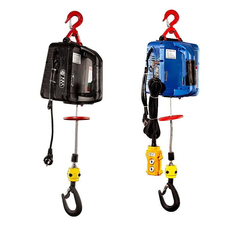 300KGS Portable Electric Hoist Winch Remote Control Traction Small Mini Crane 220V/110V
