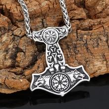 Nordic viking stainless steel thor hammer Mjolnir odin wolf vegvisir pendant necklace with valknut gift bag