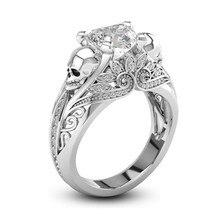 Blue Heart Shape CZ Stone Punk Skull Promise Ring for Women Fashion Jewelry Wedding Engagement Valentine's Day Gift
