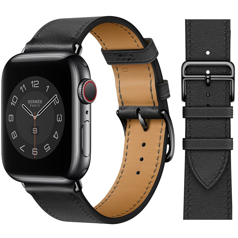 AliExpress - Single ring Leather Strap suitablefor iWatch 38mm 42mm Susiness sports band Suitable for Apple Watch 40mm 44mm Series 123456 SE