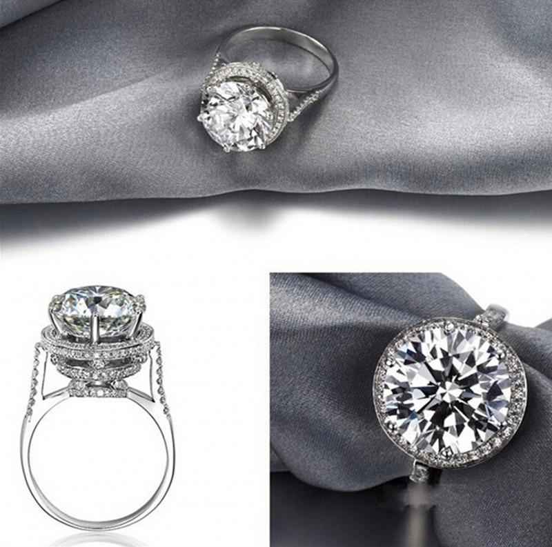 Anillo de diamante de laboratorio de 4ct redondo de diseño único, anillo de compromiso de Plata de Ley 925 Bijou, anillos de boda para mujeres, joyería de encanto nupcial