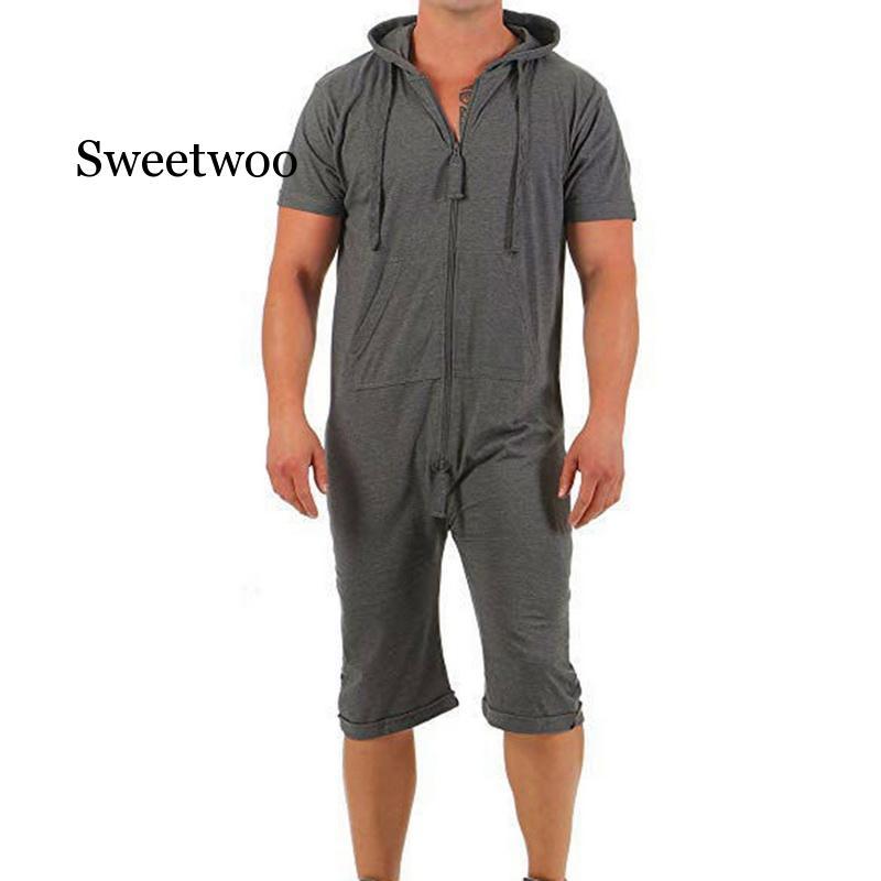 بدلة قفز للرجال موضة 2020 قطعة واحدة بدلة قفز رجالية صيفية بسحّاب بأكمام قصيرة بدلة قفز رجالي ملابس خروج