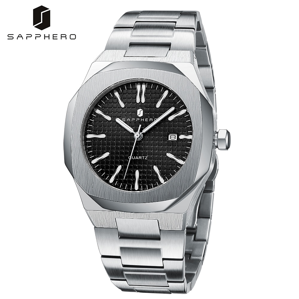 SAPPHERO Watches for Men Waterproof 30M Stainless Steel Wristwatch Quartz Movement Luxury Casual Business Style Elegant Gift the hot selling 2018 men s quartz movement classic business style the only designated choice