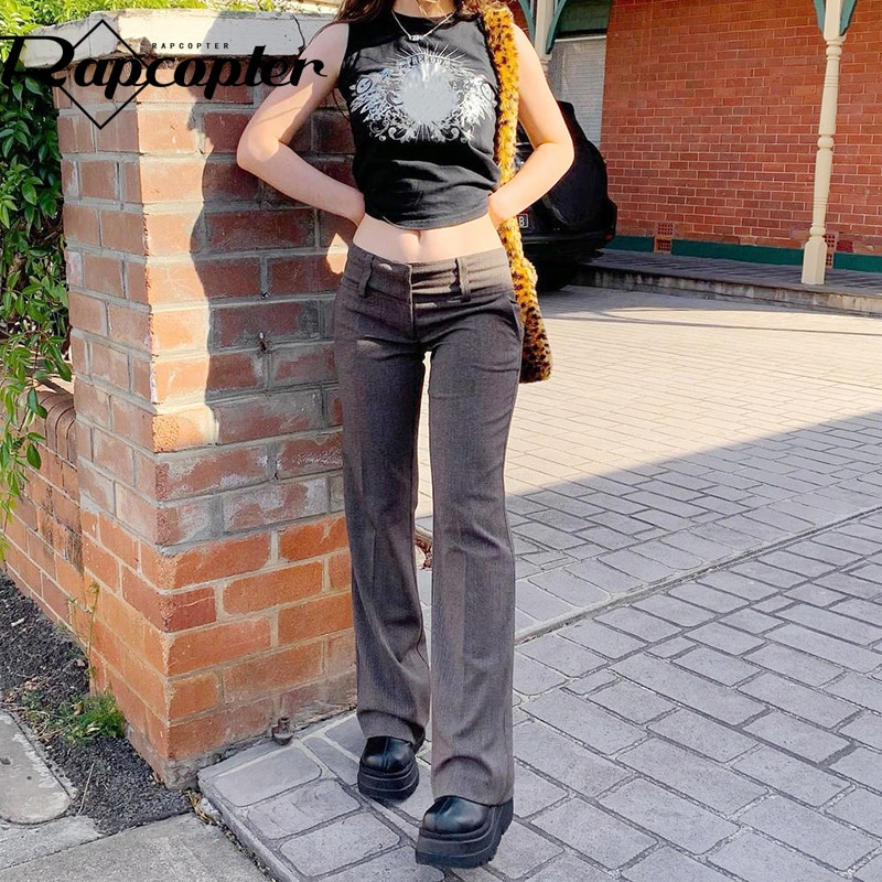 Rapcopter y2k Harajuku Pants Low Waisted Trousers Casual Flare Jpggers Women Pockets Zipper Cargo Pa