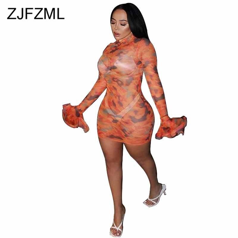 Impresso sexy vestido de malha feminina manga longa alargamento bodycon ver através do clube vestido elegante gola alta magro mini pacote hip vestido