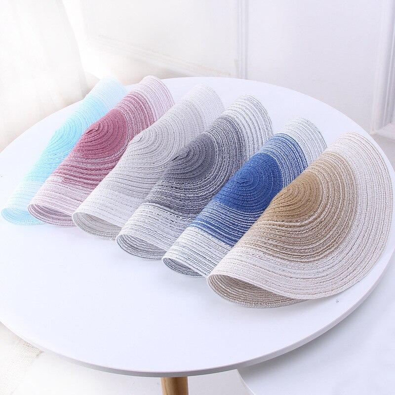 Скандинавские круглые Тканые Салфетки Из хлопчатобумажной пряжи, градиентные коврики для обеденного стола, диски для чаши, термостойкие подставки под напитки, кухонные принадлежности