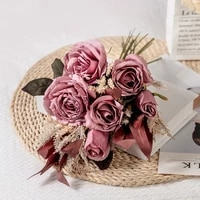 single bunch of 41 5cm high red artificial rose flower high quality home decoration anniversary bridal wedding bouquet