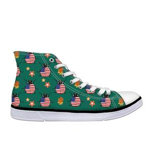HaoYun Women Vulcanized Shoes Cute Ladybug Animal Prints Ladies Casual Shoes Lace-Up Flat Canvas Shoes Girls Breathable Sneakers