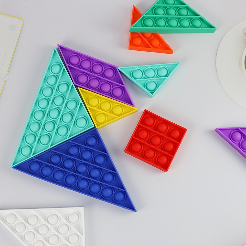 NEW BIG SIZE Fidget Toys Pops It Tangram Push Square Antistress Toy Bubble Figet Focus Soft Anti-stress Special Needs Stress Toy enlarge