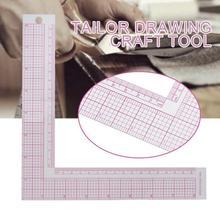 1 pièces en plastique l-carré forme règle français courbe couture mesure règle professionnel bricolage artisanat tailleur artisanat couture outils plus récent