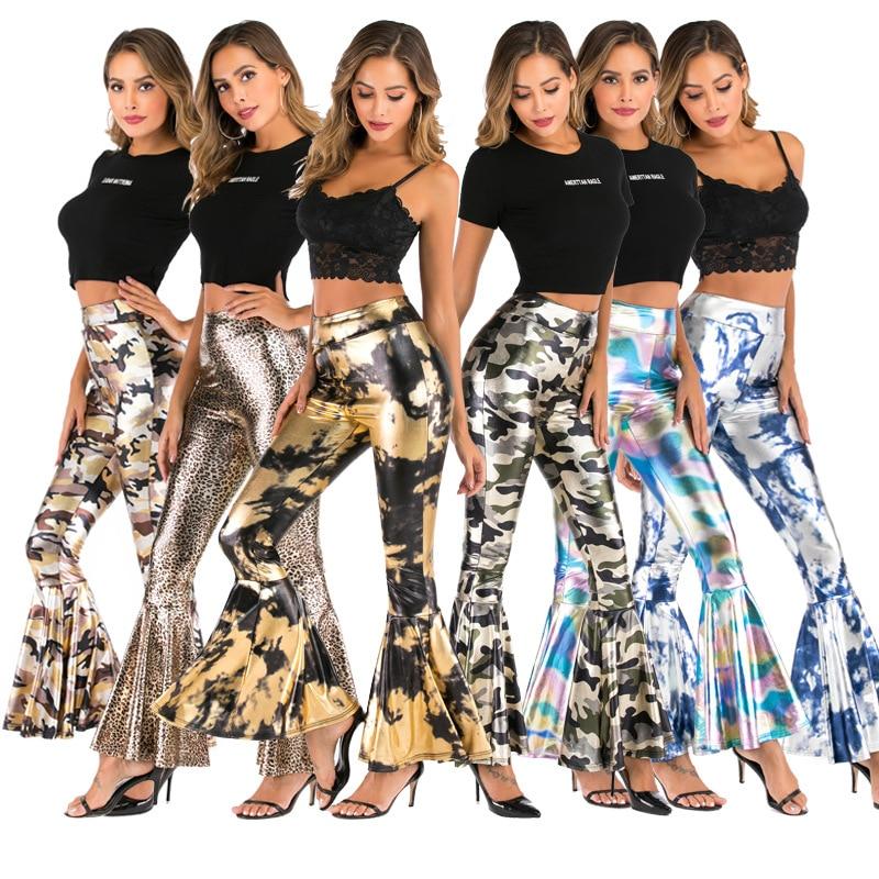 Women Camouflage Flare Pants For Women Winter Wide Leg Pants Plus Size High Waist Denim Bell BottomTrousers F342
