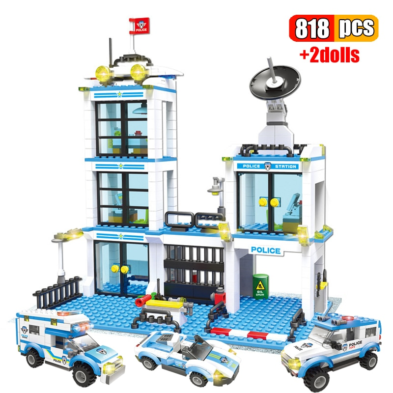 818Pcs City Police Station Building Blocks SWAT Vehicle Police Command Creative Model DIY Bricks Educational Toys for Children building blocks city police station swat model fire fighting friends fingure bricks educational toys for children