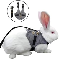 small pet rabbit harness adjustable breathable rabbit chest strap outdoor pet vest with pulling rope sml 2020 new arrivals