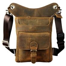 Мужская поясная сумка из коровьей кожи, сумка для мотоциклиста, сумка на бедрах из натуральной кожи, сумка на плечо, Мужская поясная сумка