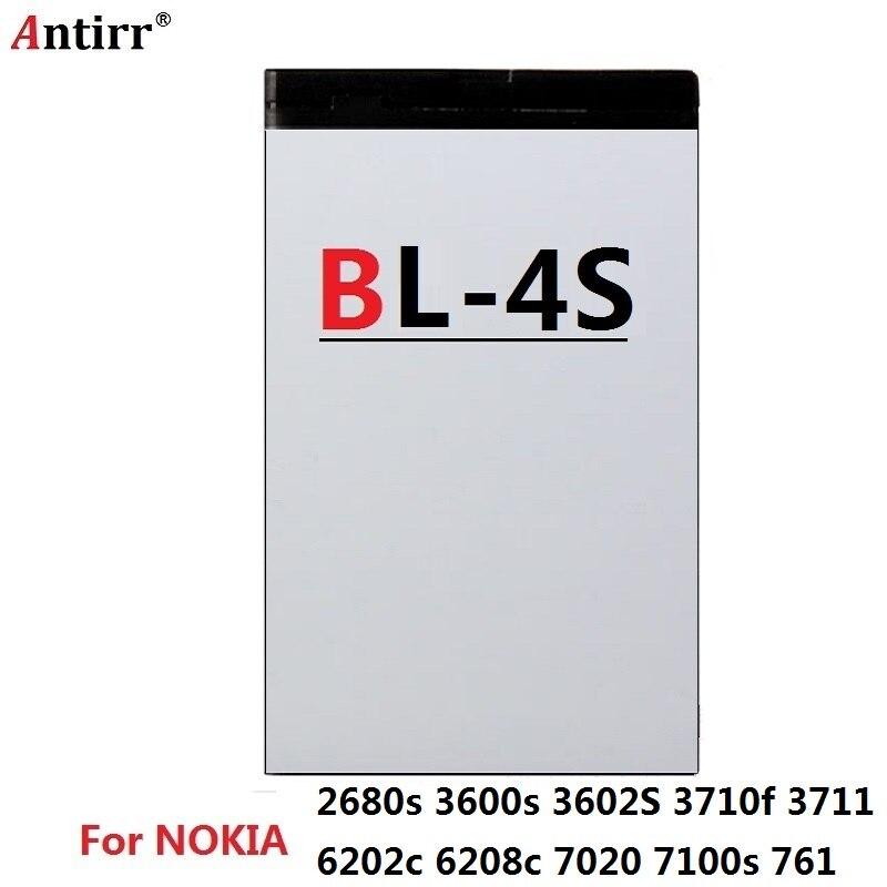 Batería de teléfono móvil Antirr BL-4S para Nokia 2680s 3600s 3602S 3710f 3711 6202c 6208c 7020 7100s 761