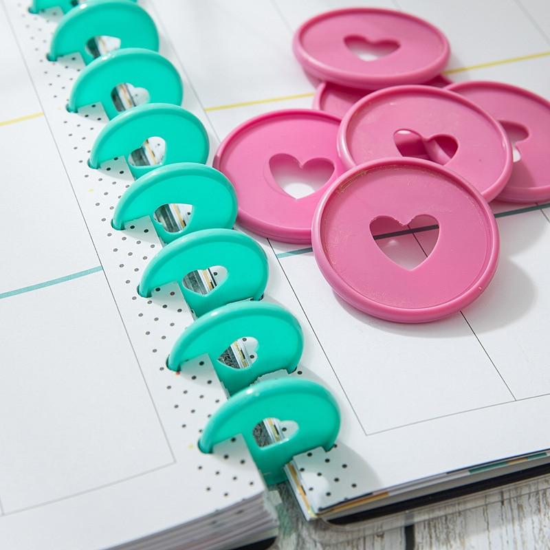 6pcs 35mm Binding Discs Notepad Plastic Loose-leaf Coil 360 Degree Foldable Plastic Disc Buckle Paper Clip Office&school