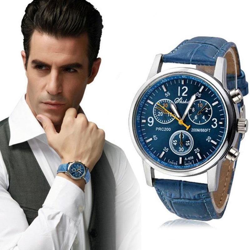 Reloj Casual de moda para hombre, reloj de pulsera de cuero con 3 ojos, relojes de estilo moderno, reloj de pulsera de cuarzo para hombre, reloj de regalo para hombre 2019