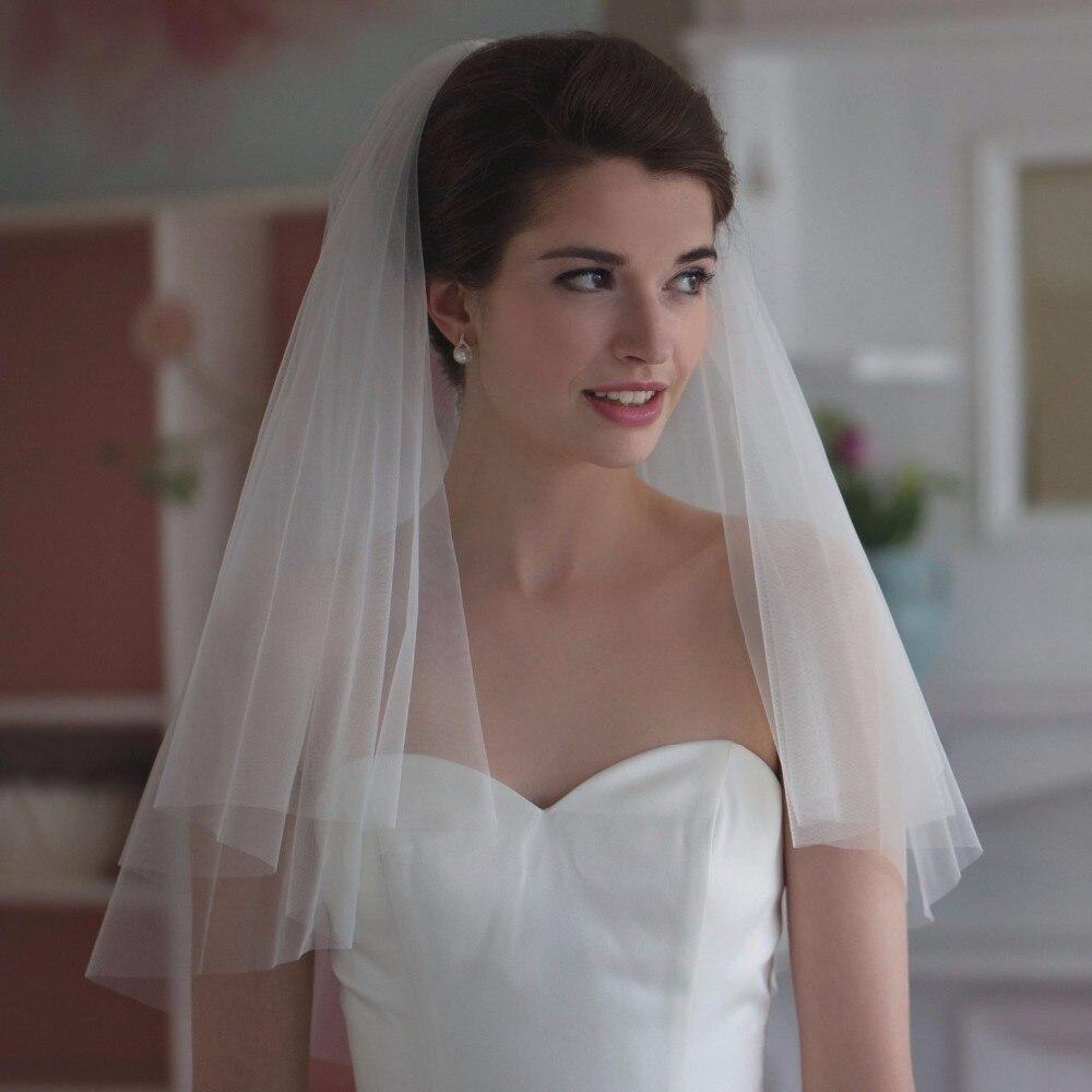 Elegante Curto Mulher 2 camadas Com Pente Véus de Noiva Branco Marfim Véu de Noiva Para O Corte Borda Véu de Noiva De Tule