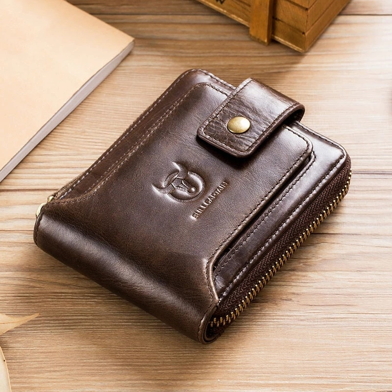 2021 New Men's Wallets Genuine Leather Wallets  Folding Zipper Wallets Coin Wallets Business Card Bags Vintage Superior Quality