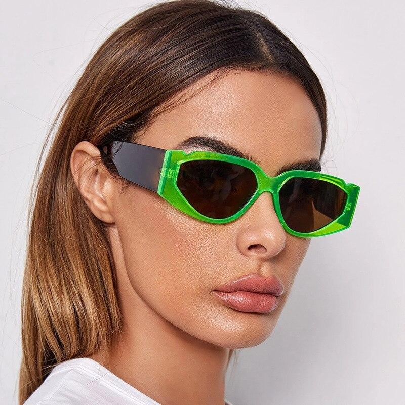Moda feminina cateye óculos de sol doces cor retângulo óculos de sol quadro largo espelho óculos máscaras uv400 feminino mm61