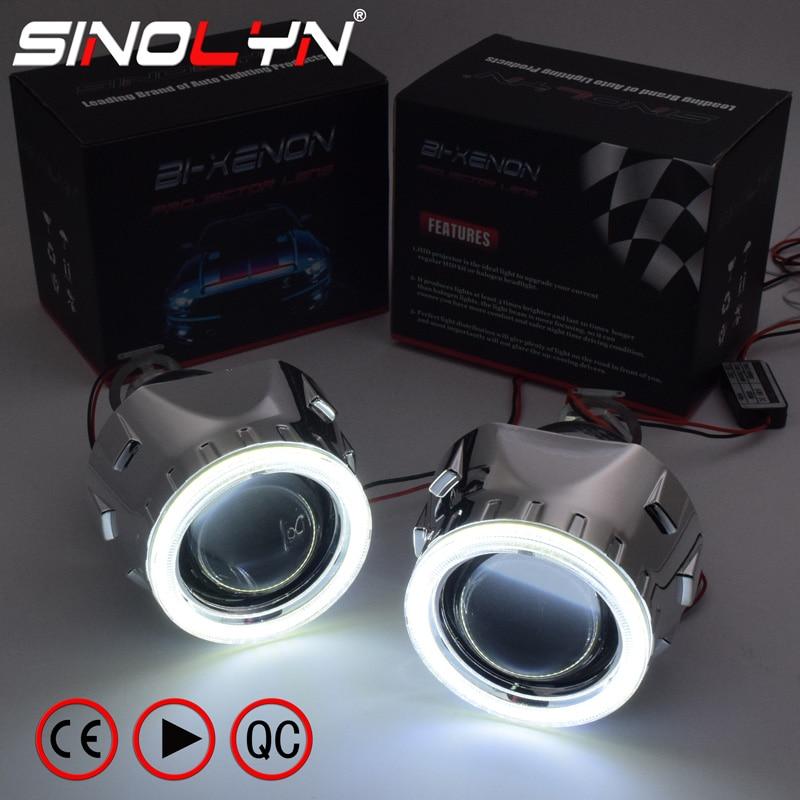 Sinolyn LED Angel Devil Eyes faro lentes HID proyector bi-xenon lente 2,5 para H4 H7 coche luces accesorios Tuning estilo DIY