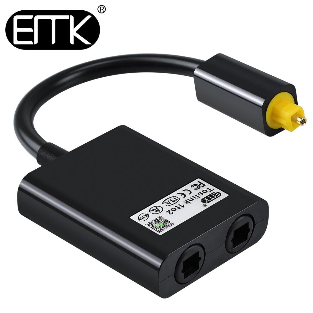 EMK óptico Digital del Cable de Audio del divisor 2 SPDIF adaptador separador Toslink Cable 1 entrada 2 salida de altavoces TV PS4 DVD