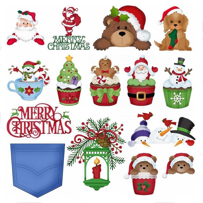 AliExpress - Merry Christmas Santa Bear Snowman Tree Letter Candle Pocket Dog Cake Metal Cutting Dies Scrapbook Craft Making Cards New Dies