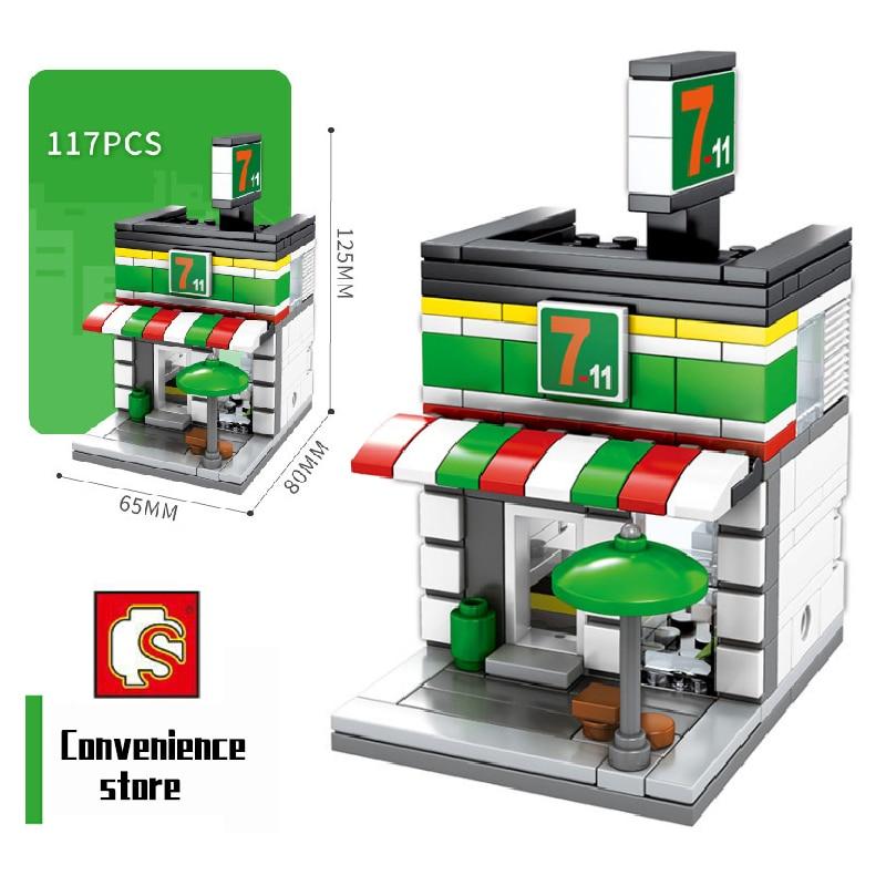 SEMBO bloques Mini City Shop Sushi carro BBQ creador de Arquitectura de coche bloques de construcción casa ladrillos figuras juguetes para niños historia