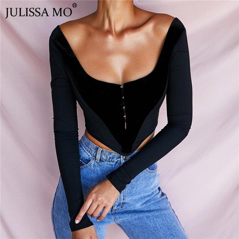 JULISSA MO Black Flannel Strapless Short Blouse Women Tops Autumn Winter Long Sleeve Skinny Shirts Fashion Tunic Corset Blouses