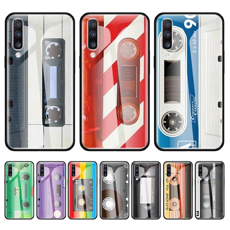 Vintage Magnetic Tape Glass Case For Samsung Galaxy A50 A70 A71 A51 5G M51 A40 A30 A10 A21 A41 A31 M31 M11 Tampa Coque