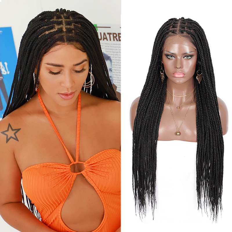 Kalyss 30 Inches Synthetic 13*6 Knotless Box Braids Black Lace Front No-Knot Large Lace Feed-in Braids Wigs for Black Wowen